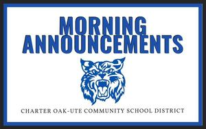 Monday's Morning Announcements