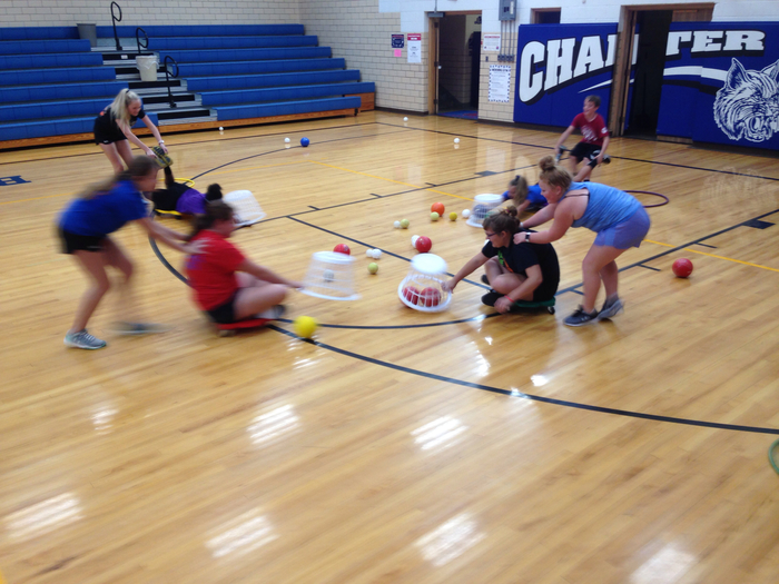 JH PE - Human Hungry Hungry Hippos game takes teamwork to be successful!