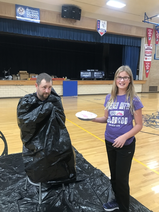 Abbey Meseck gets to pie Mr. Eggeling!