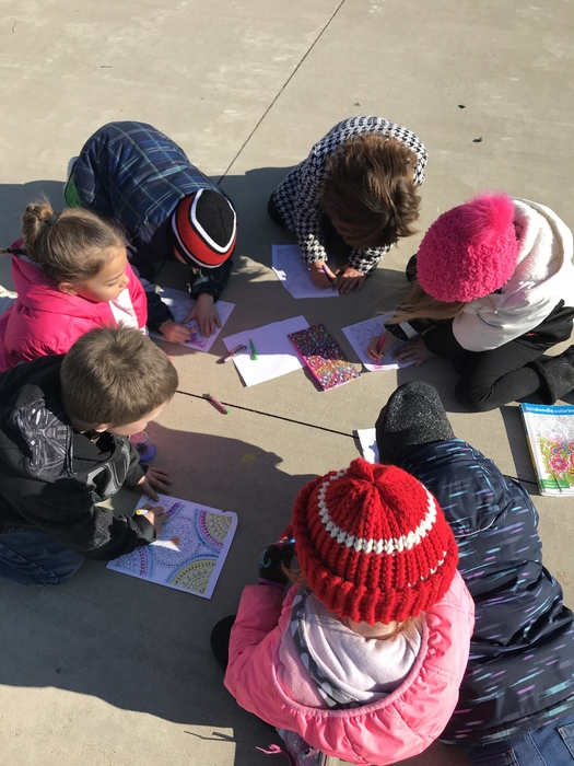 Busy coloring at Recess!