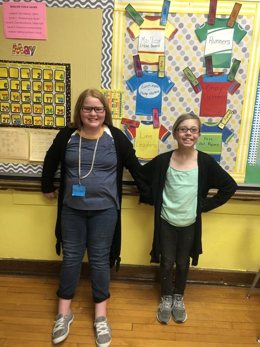 Two students dressed like me for teacher appreciation!  Thank you!
